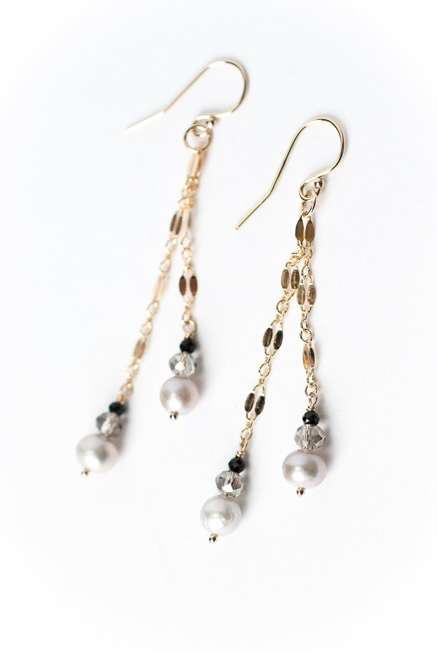 *Lucky Charm Gold Chain Gemstone Dangle Earrings