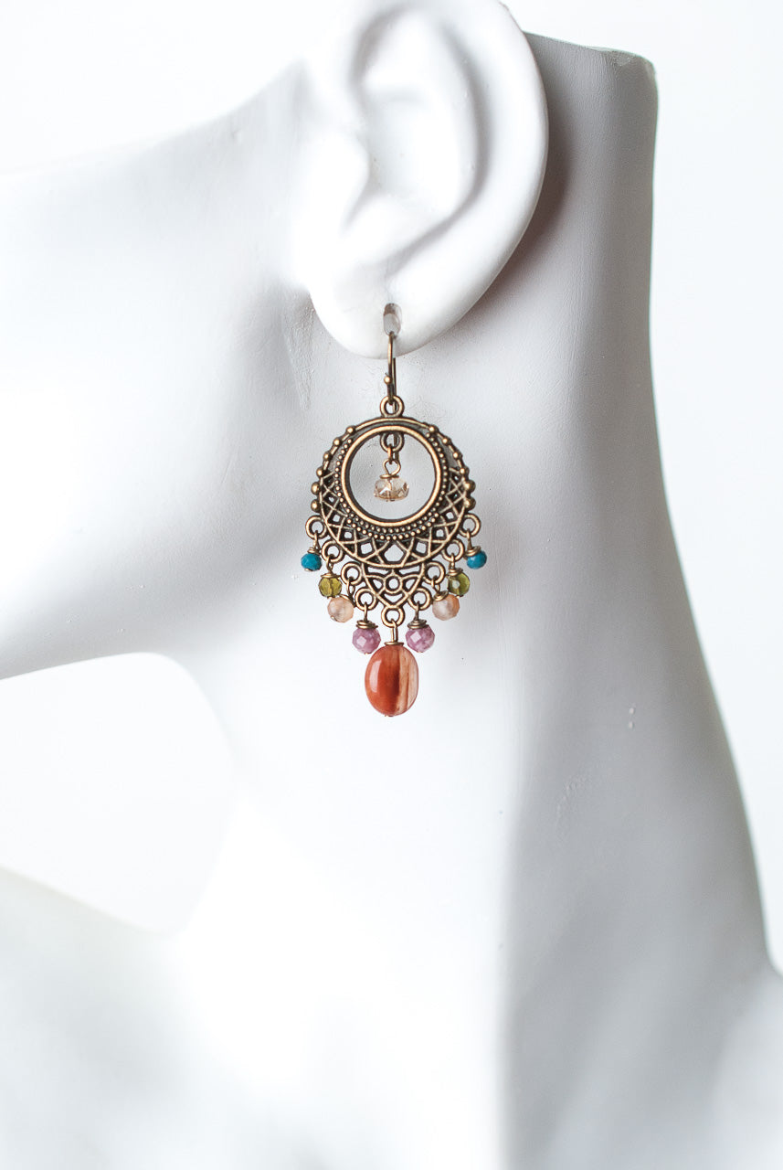 Medina Crystal, Quartz, Jasper, Ruby Chandelier Earrings