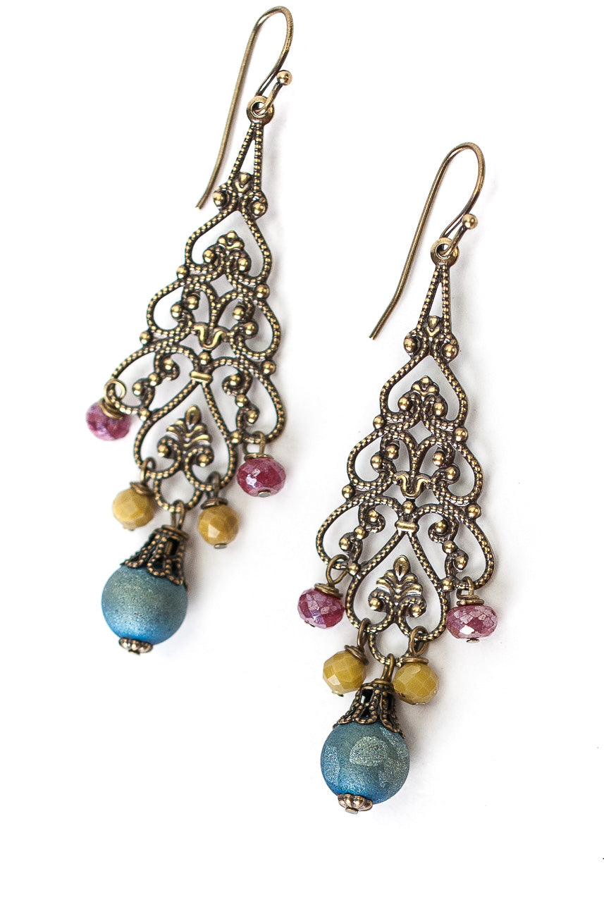 Medina Druzy, Jade, Ruby Chandelier Earrings
