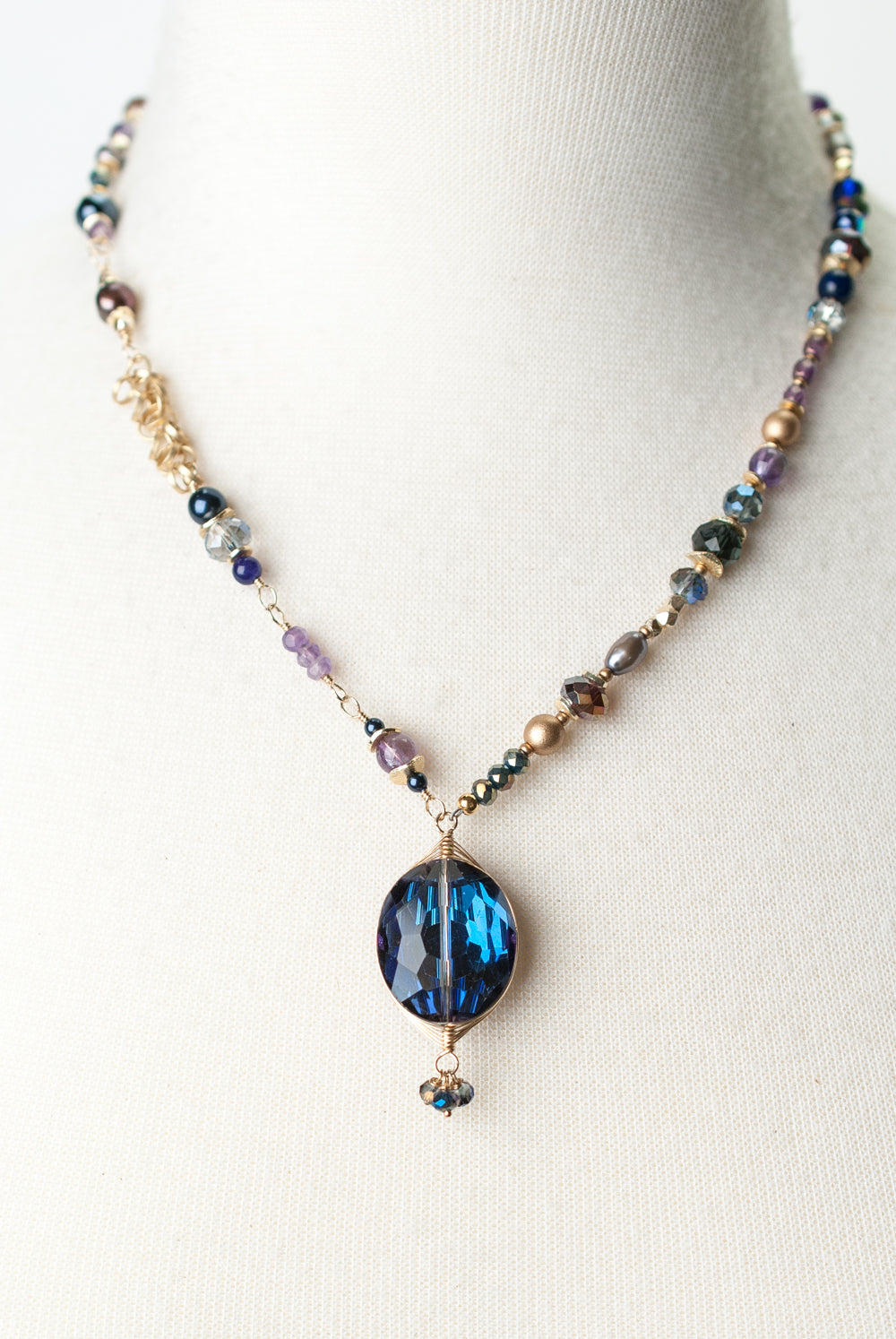 "Midnight 17.5-19.5"" Amethyst, Czech Glass, Pearl Herringbone Focal Necklace"