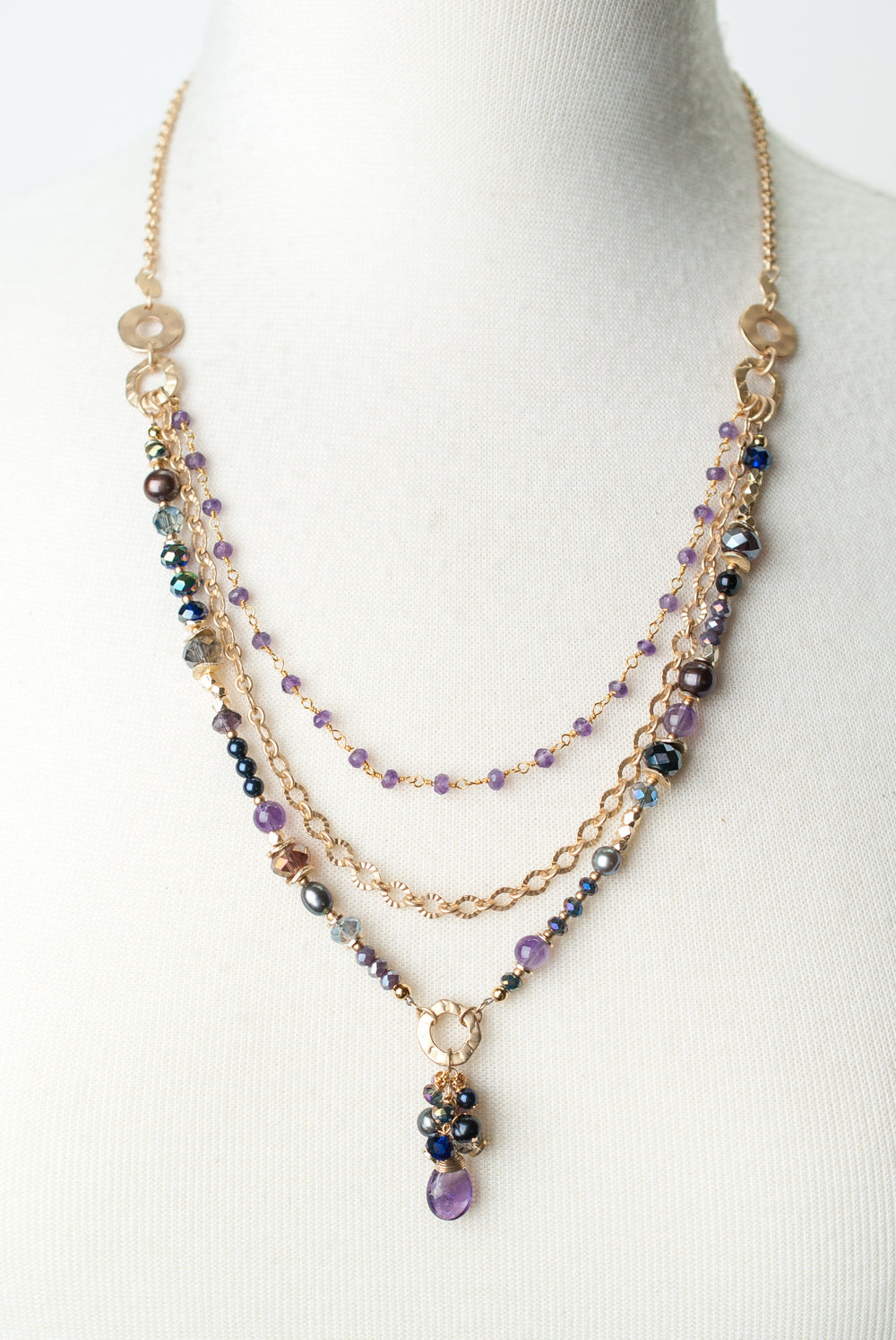 "Midnight 20-22"" Amethyst, Czech Glass, Pearl Multistrand Necklace"