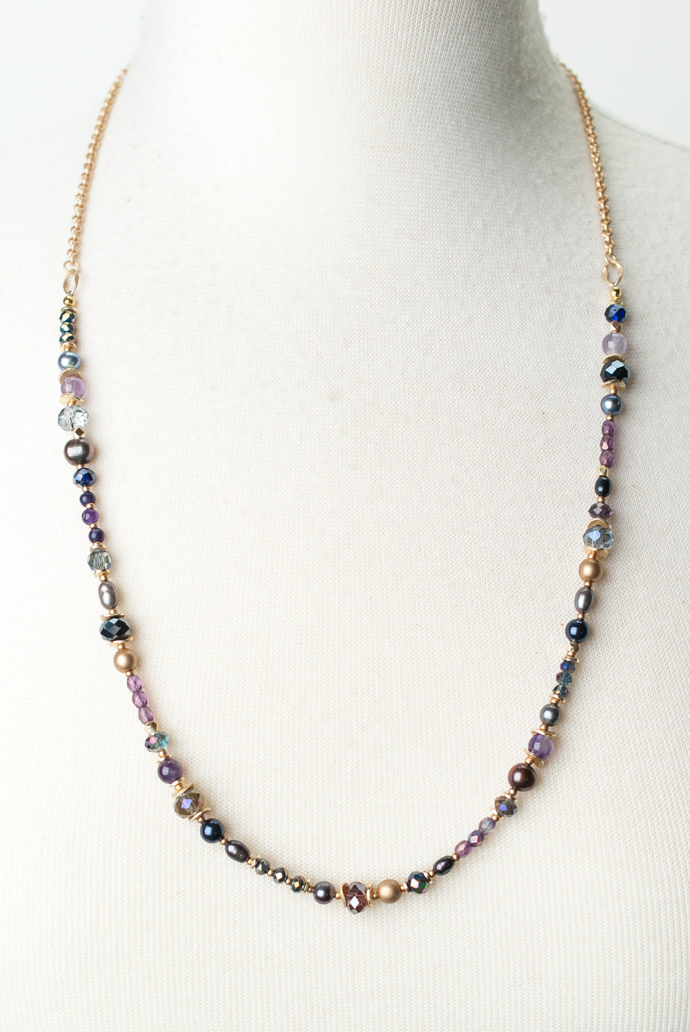 "Midnight 27-29"" Amethyst, Czech Glass, Crystal Collage Necklace"