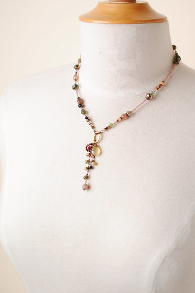 "Mauve Mix 17-19"" Dangle Tassle Necklace"