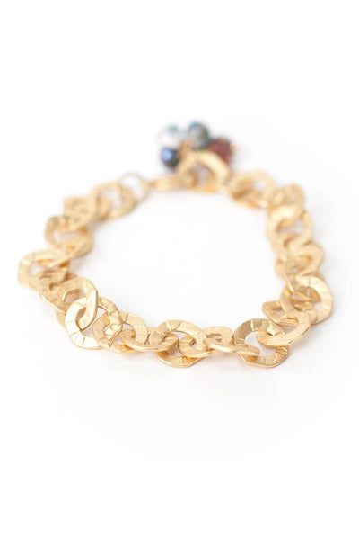 "Midnight 8.5"" Matte Gold Chain Bracelet"