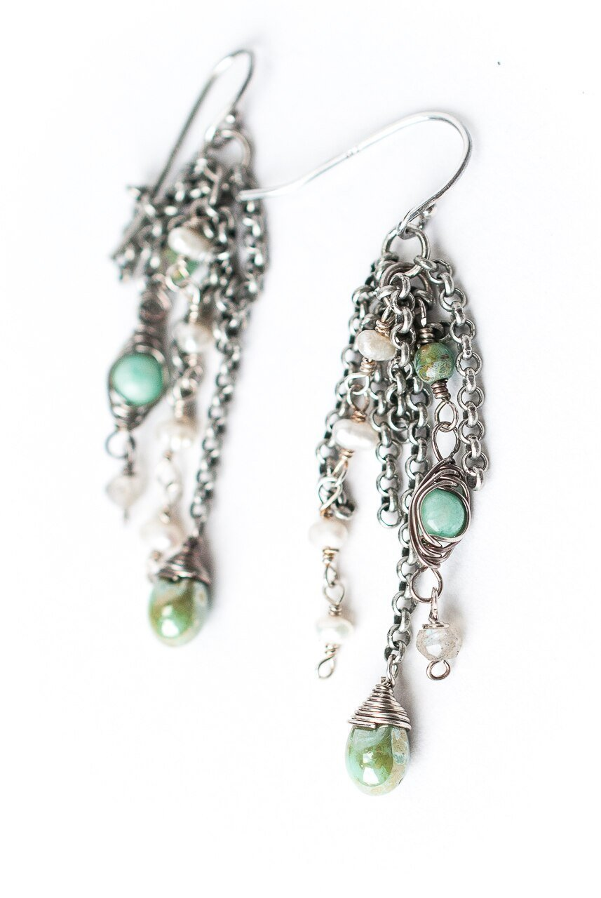 Mint Julep Antique Silver Tassel Earrings