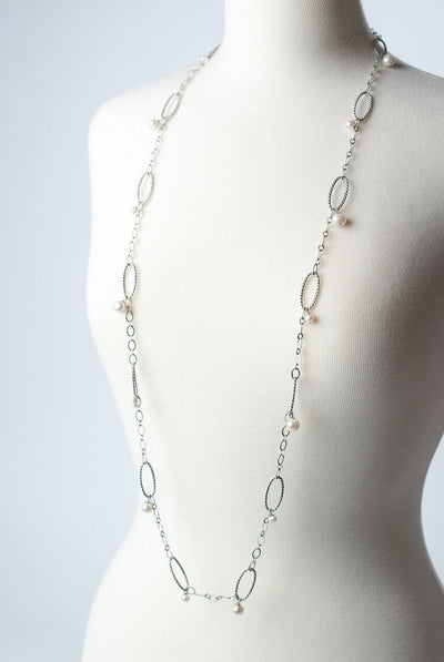 "Mint Julep 45-47"" Antique Silver Pearl Dangle Necklace"