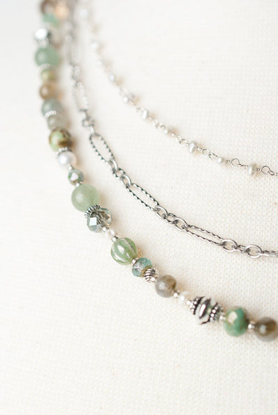 "Mint Julep 17.5-19.5"" Multistrand Collage Necklace"