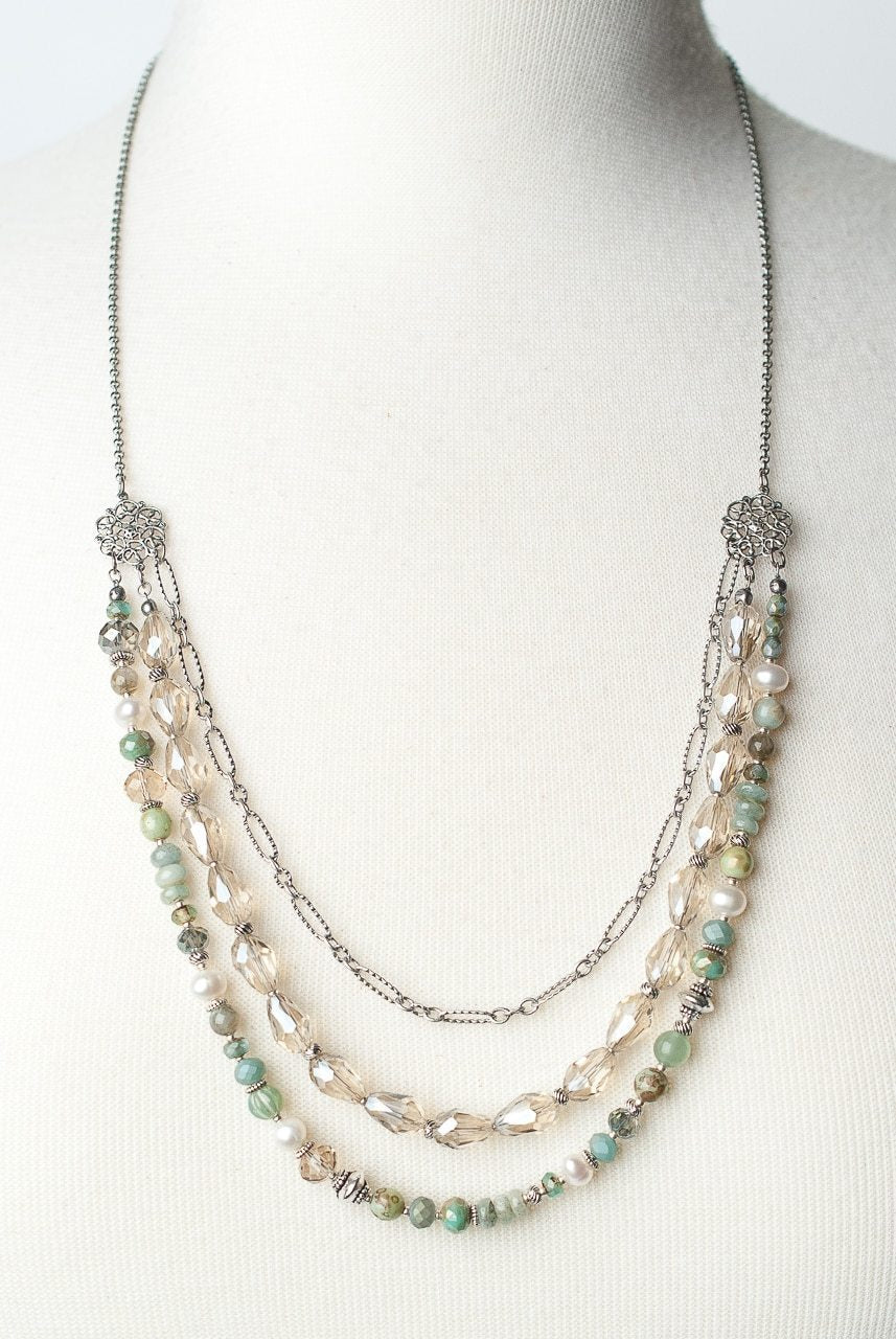 "*Mint Julep 26-28"" Crystal Multistrand Necklace"
