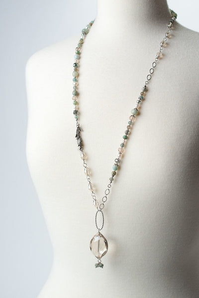 "Mint Julep 32.5-34.5"" Collage Herringbone Focal Necklace"