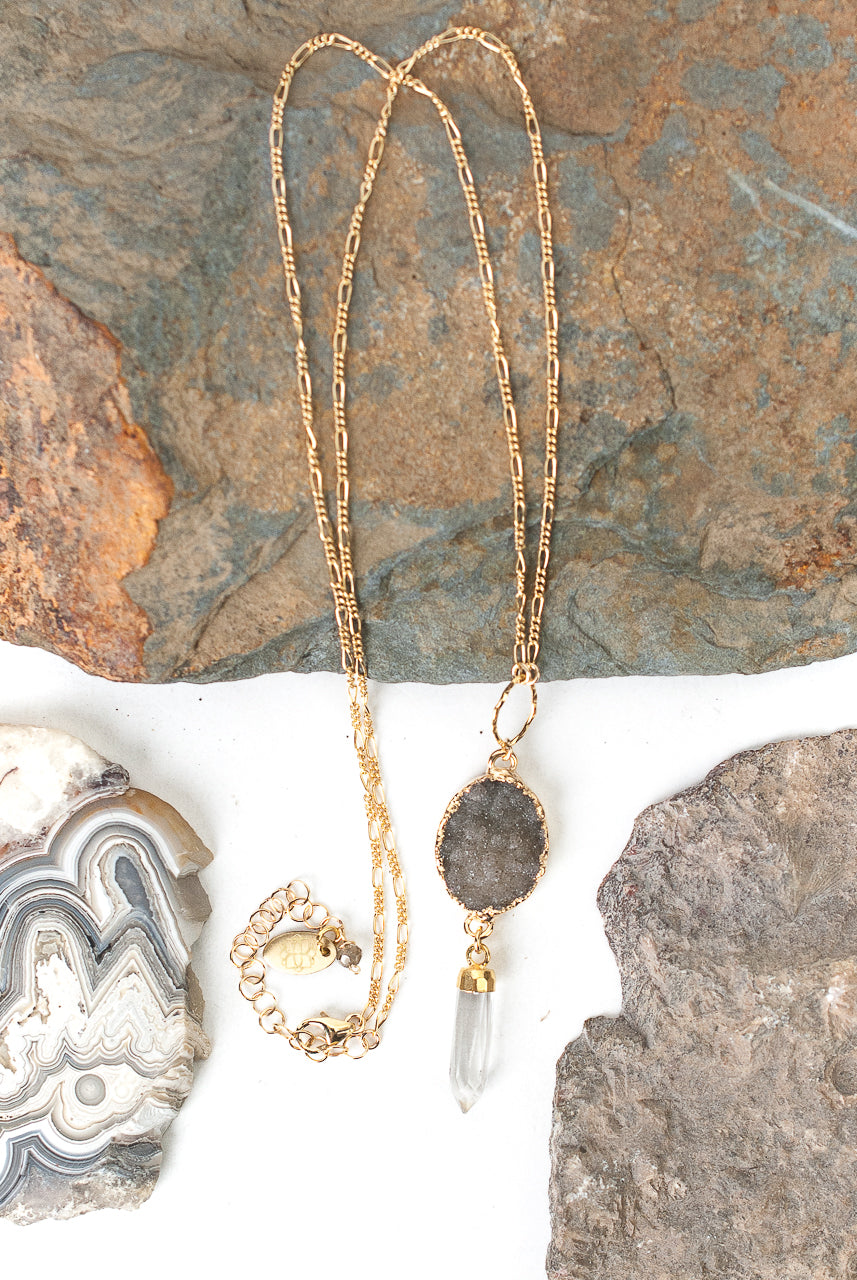 "One of a Kind 19.5-21.5"" Druzy, Quartz Focal Necklace"