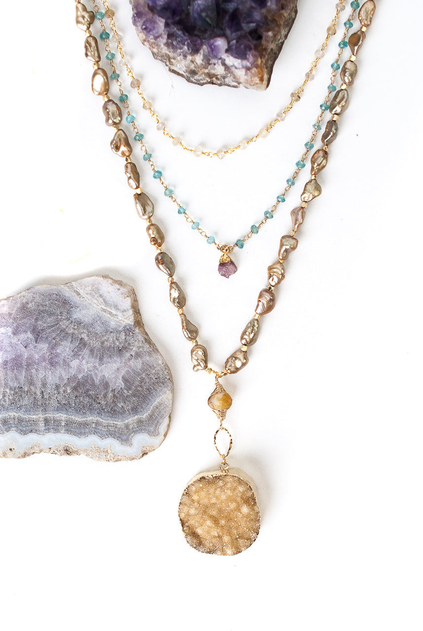 "One of a Kind 18.75-20.75"" Druzy, Fresh Water Pearl, Chalcedony Multistrand Necklace"
