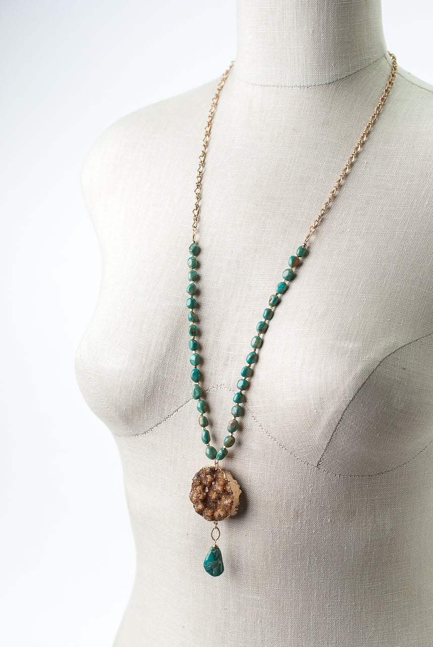 "One of a Kind 32-34"" Natural Turquoise, Druzy Focal Necklace"