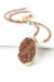 "One of a Kind 20.5-22.5"" Druzy, Gold Rutilated Quartz, Turquoise Focal Necklace"