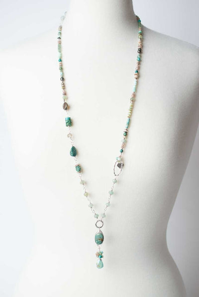 "Oak Creek 36-38"" Turquoise Cluster Pendant Collage Necklace"