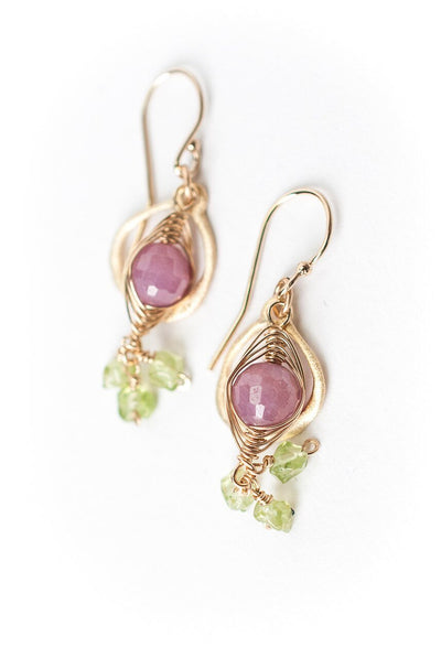 Oasis Natural Ruby & Peridot Cluster Dangle Earrings
