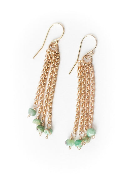 Oasis Ruby in Zoisite Matte Gold Tassel Earrings
