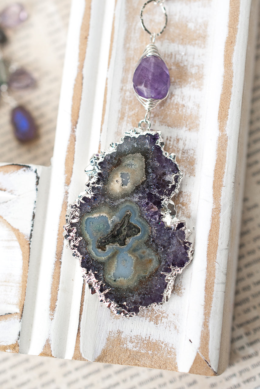 "One of a Kind 31-33"" Amethyst, Labradorite, Mineral Slice Focal Necklace"