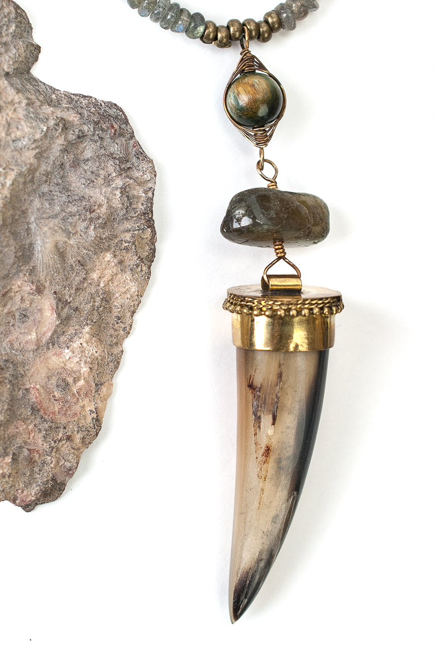 "Limited Edition 26.5-28.5"" Labradorite, Cat's Eye, Horn Focal Necklace"