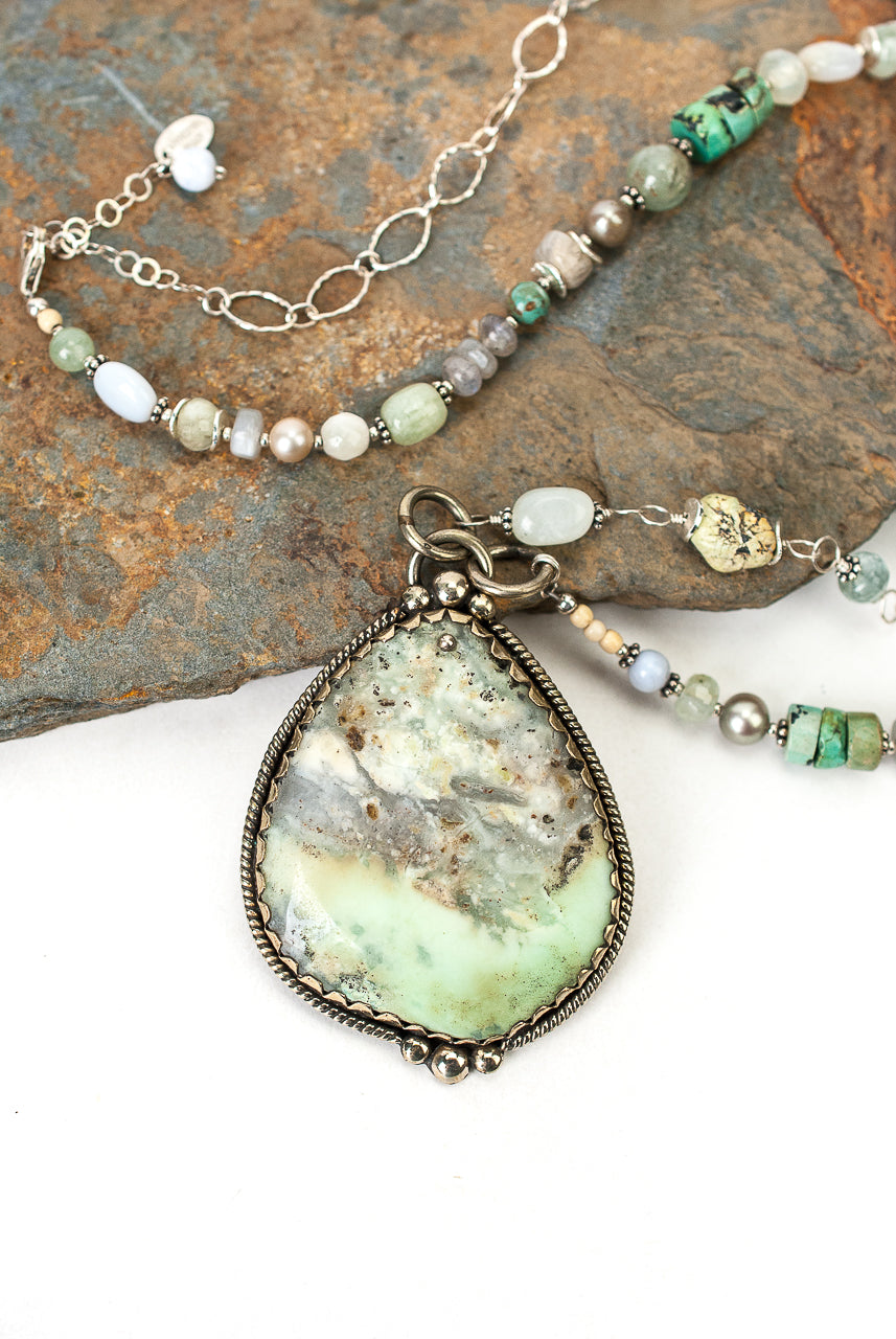 "One of a Kind 31-33"" Turquoise, Fresh Water Pearl, Peruvian Opal Collage Focal Necklace"