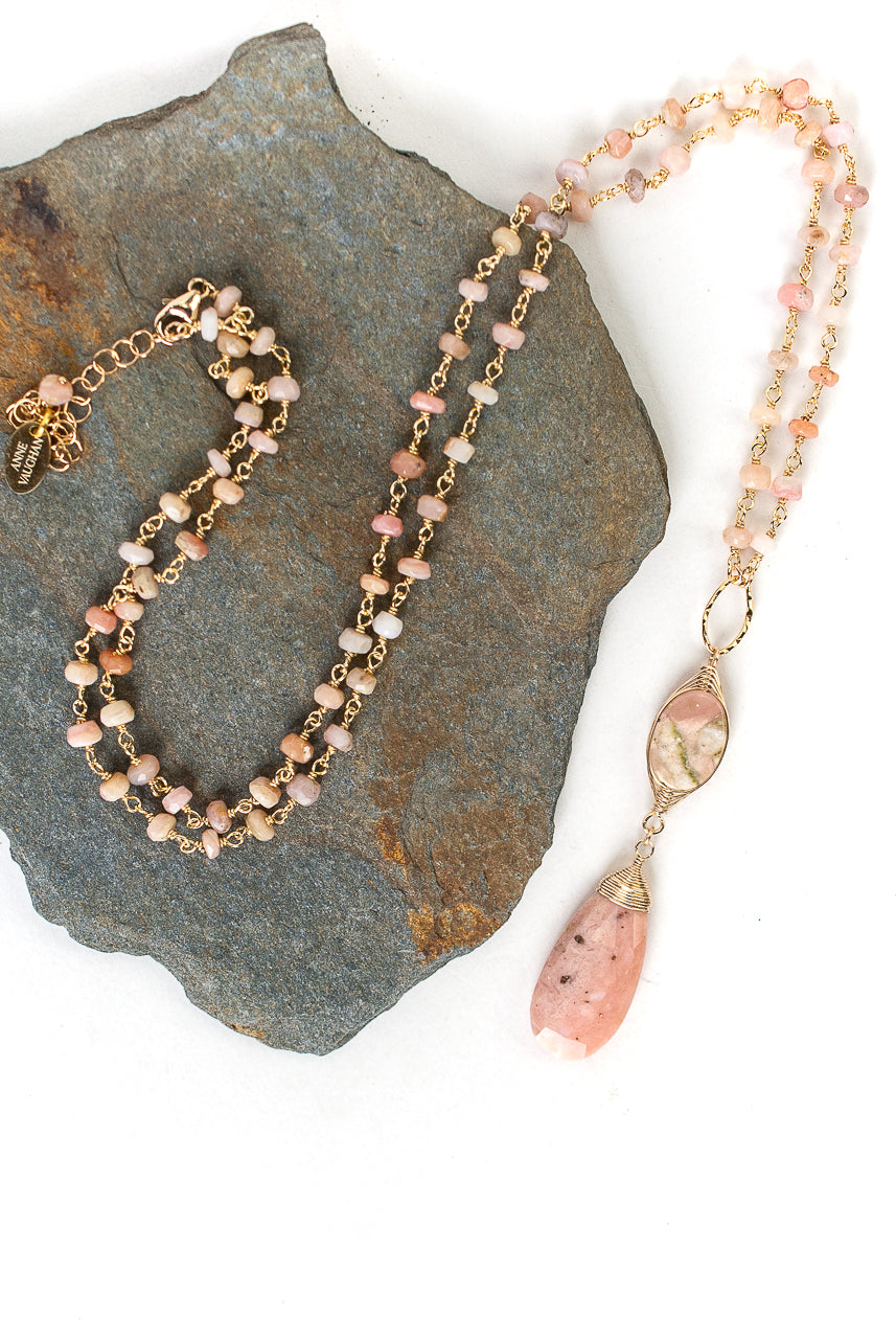 "Peonies 25.5-27.5"" Rhodochrosite, Pink Opal Focal Necklace"