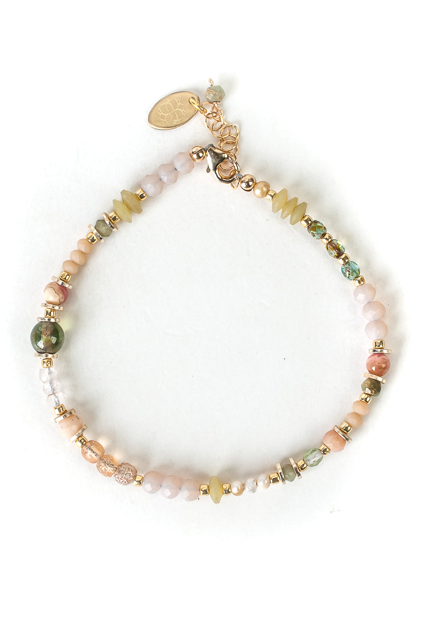 "Peonies 7.5-8.5"" Pink Opal, Czech Glass, Crystal Simple Bracelet"