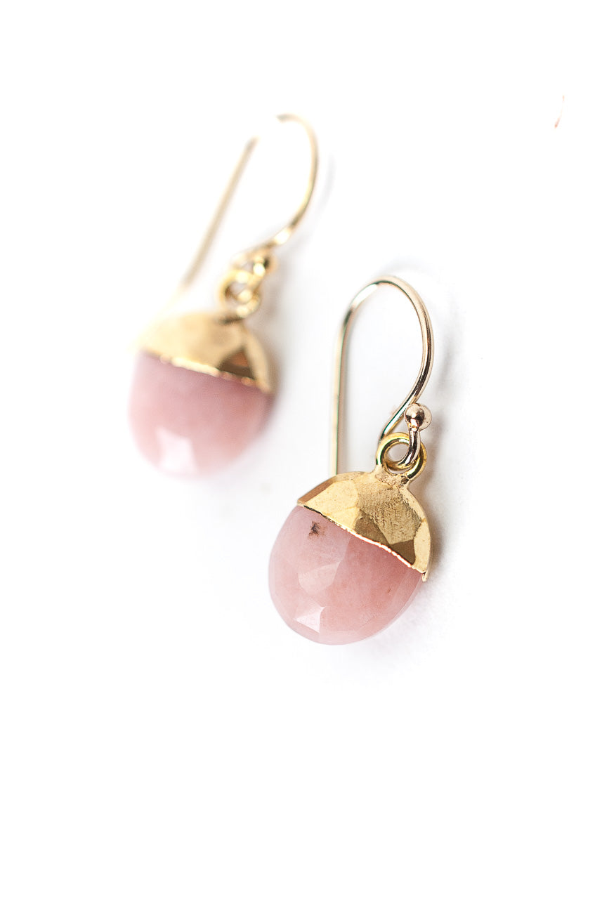 Peonies Pink Opal Simple Dangle Earrings