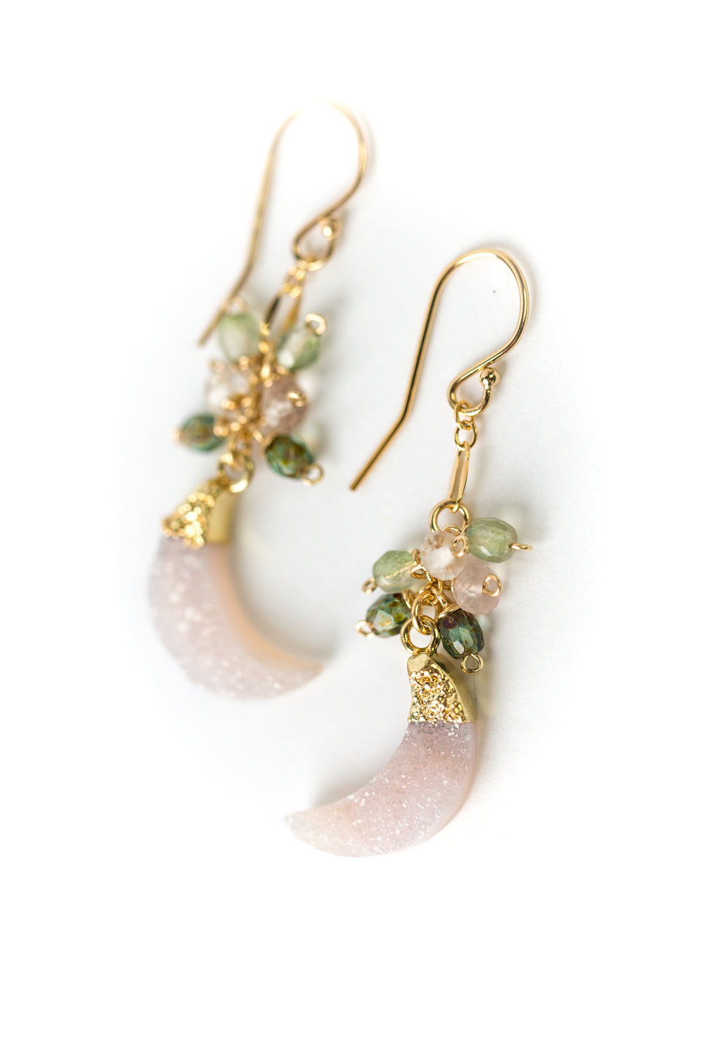 Peonies Druzy, Czech Glass, Crystal Cluster Dangle Earrings