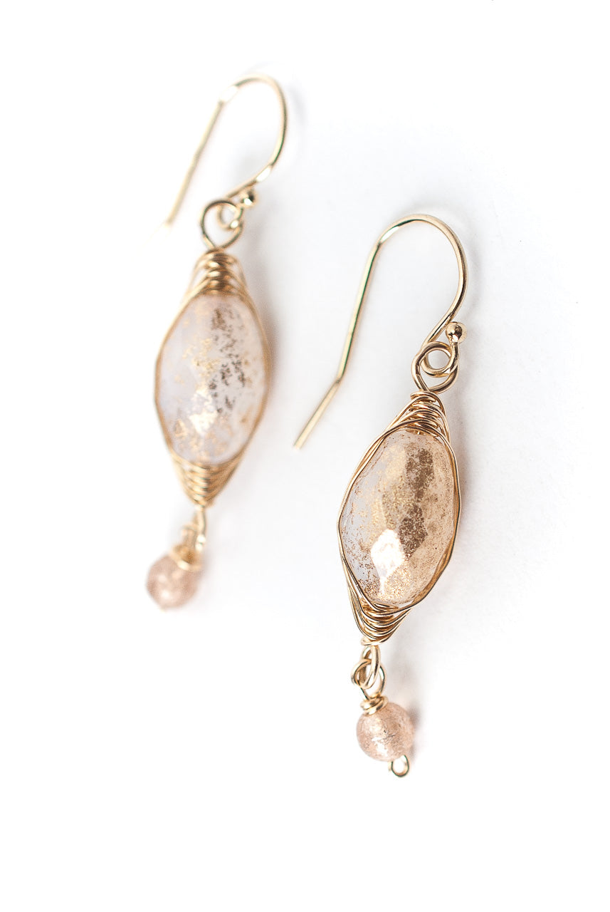 Peonies Czech Glass Herringbone Earrings