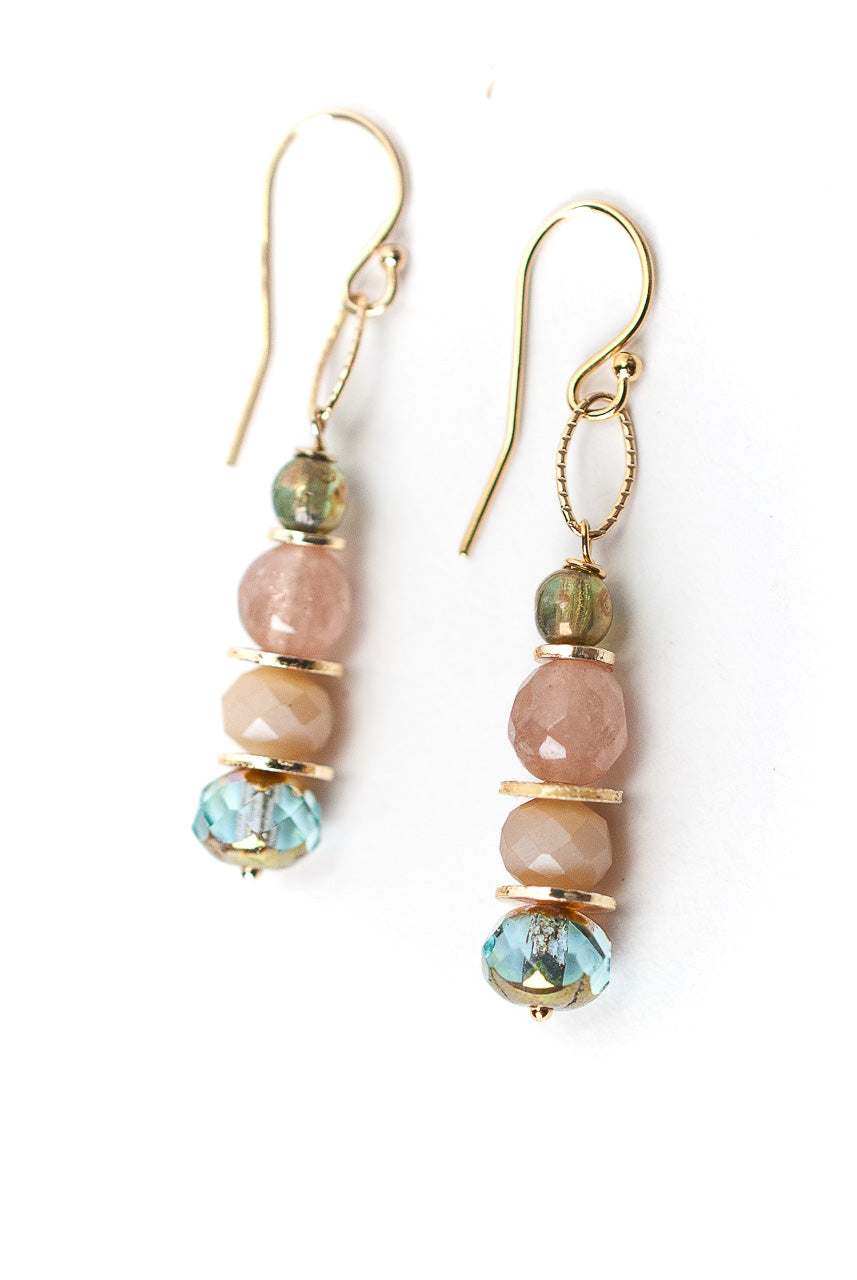Peonies Pink Opal, Czech Glass, Crystal Dangle Earrings