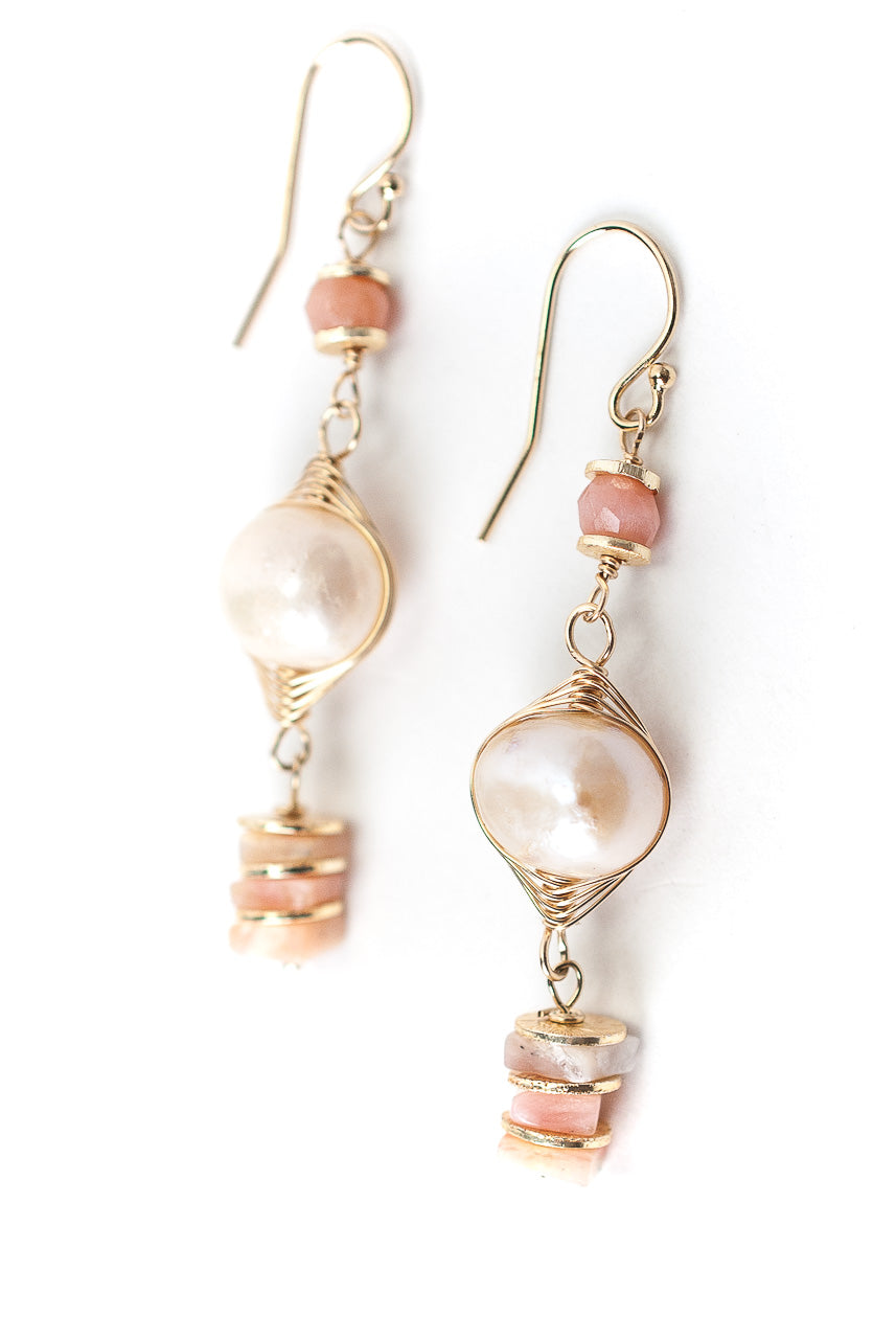 Peonies Pink Opal, Pearl Herringbone Earrings
