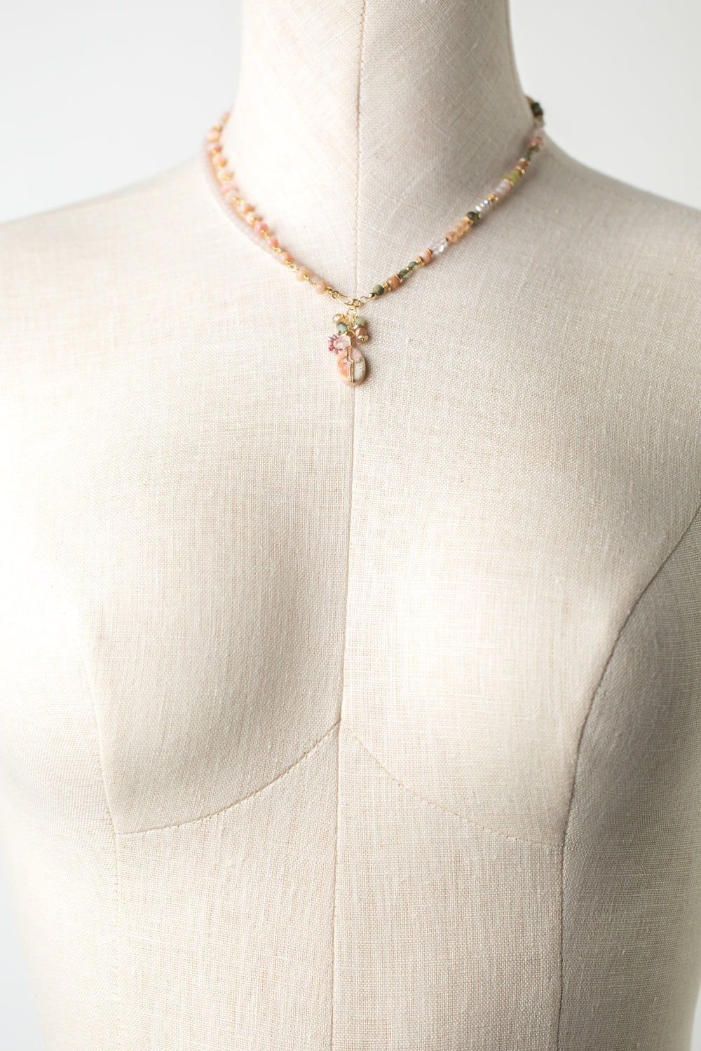 "Peonies 7.5-8.5"" or 16-17"" Pink Opal, Czech Glass, Crystal Transitional Necklace"
