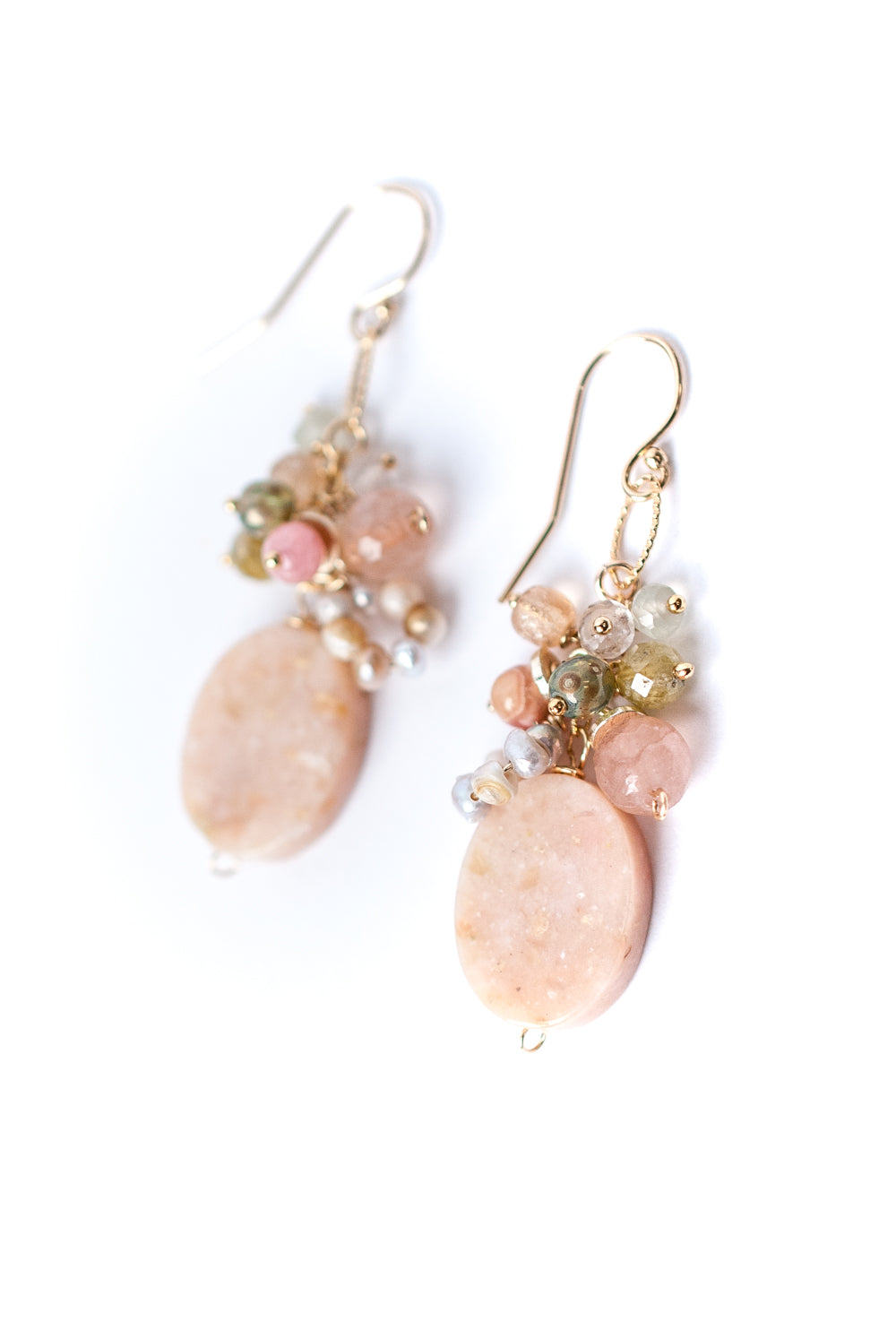 Peonies Pink Opal, Czech Glass, Crystal Cluster Earrings