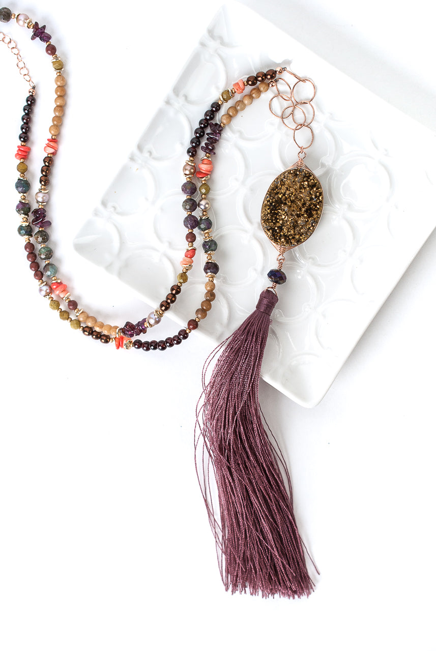 "*Rhapsody 28-30"" Druzi Tassel Collage Necklace"