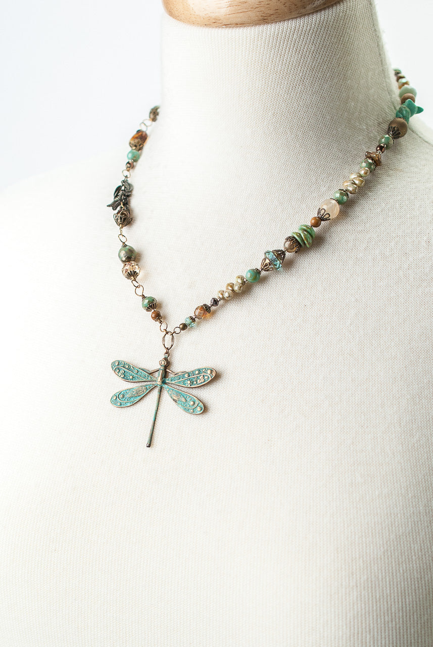 "Rustic Creek 19.75-21.75"" Copper Dragonfly Gemstone Necklace"