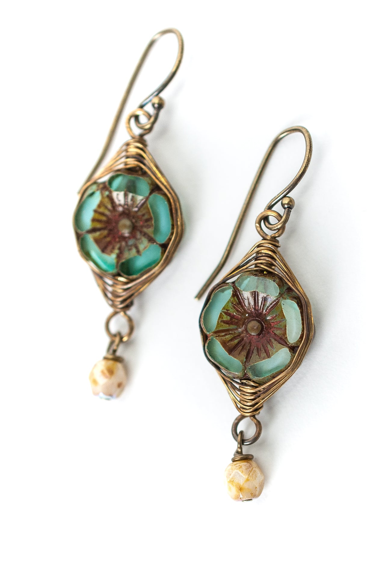 Rustic Creek Czech Glass Flower Herringbone Earrings