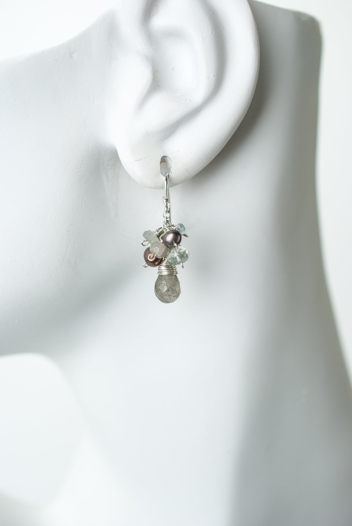 Resilience Labradorite Teardrop Focal Cluster Earrings