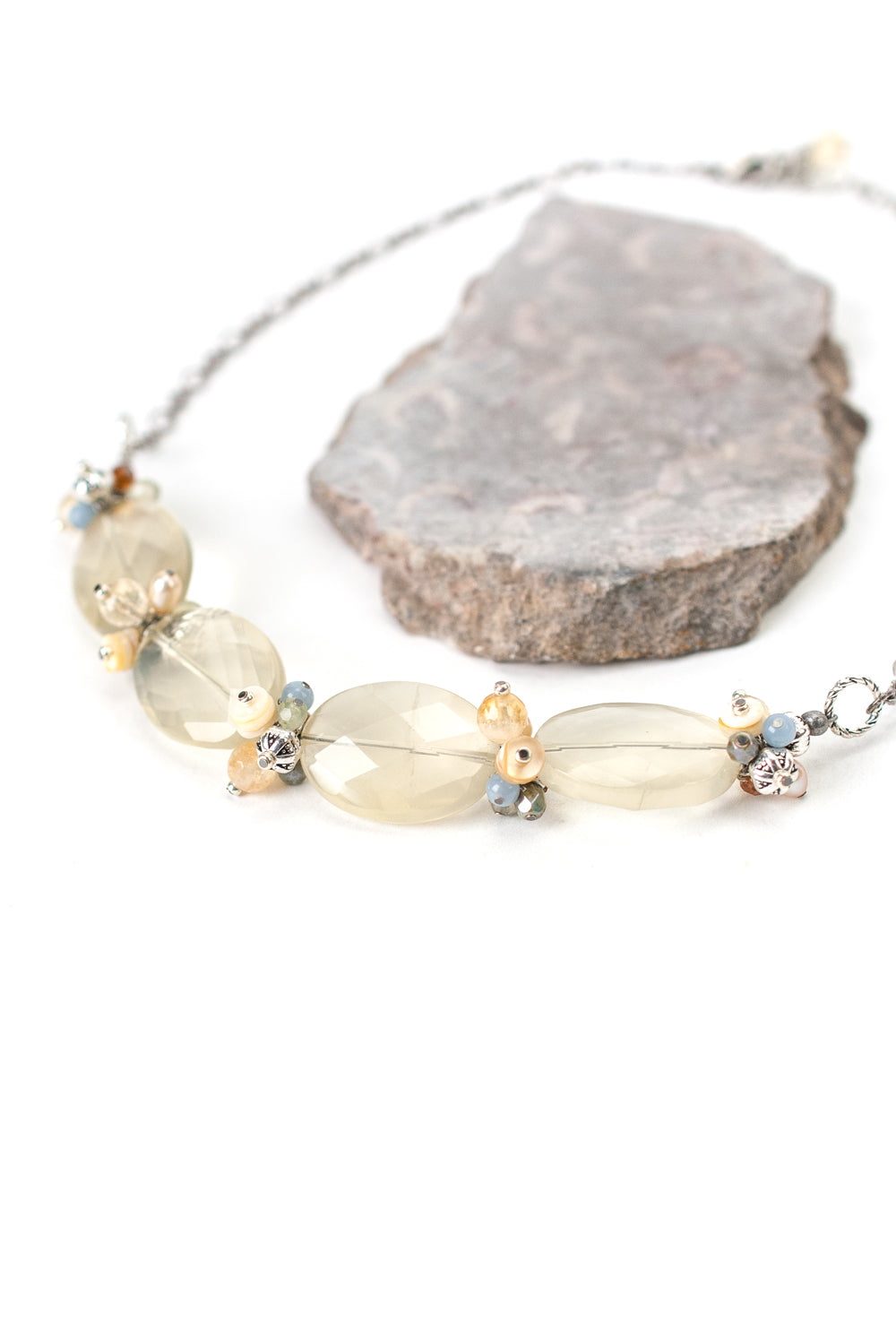 "Refresh 16.75-18.75"" Citrine, Pearl, Heishe Shell Cluster Necklace"