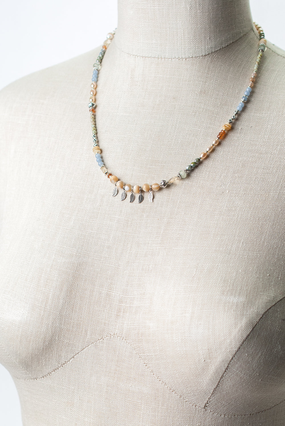 "Refresh 19.75-21.75"" Czech Glass, Pearl, Heishe Shell Collage Necklace"
