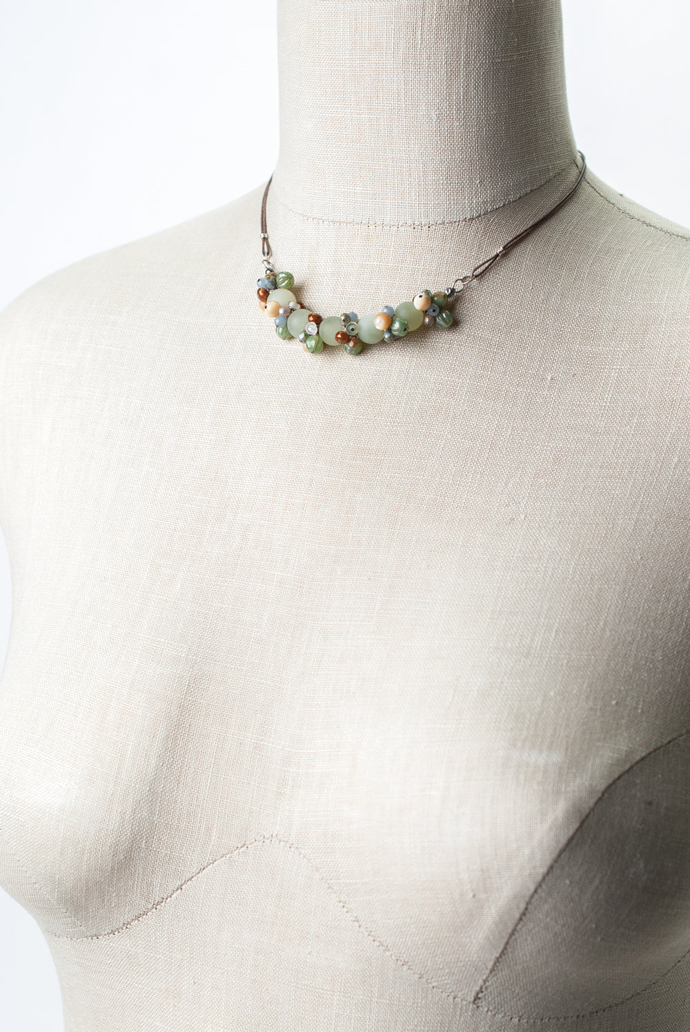 "Refresh 14.5-16.5"" Prehnite, Czech Glass, Pearl Cluster Necklace"