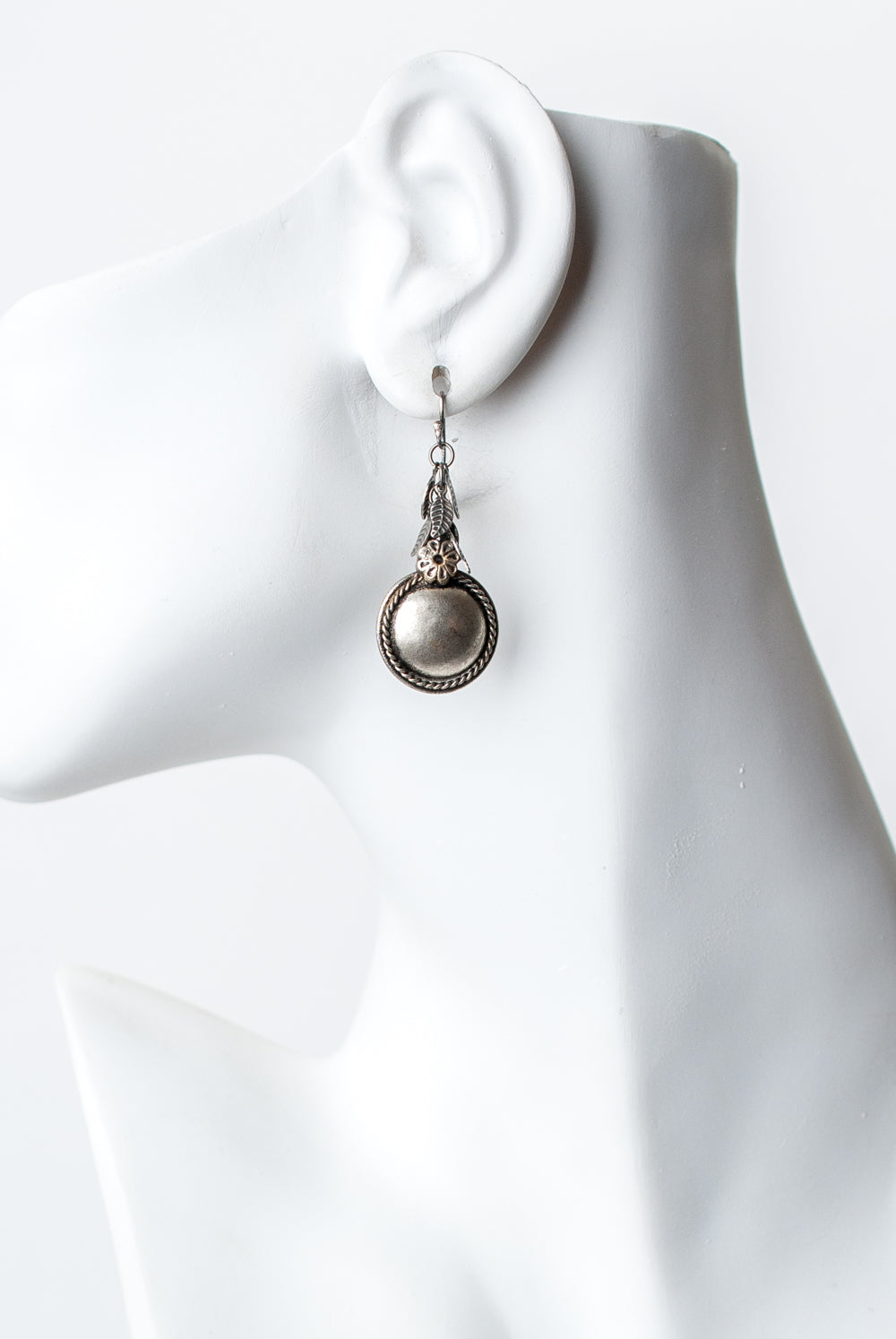 Refresh Antique Silver Leaf and Disk Dangle Earrings