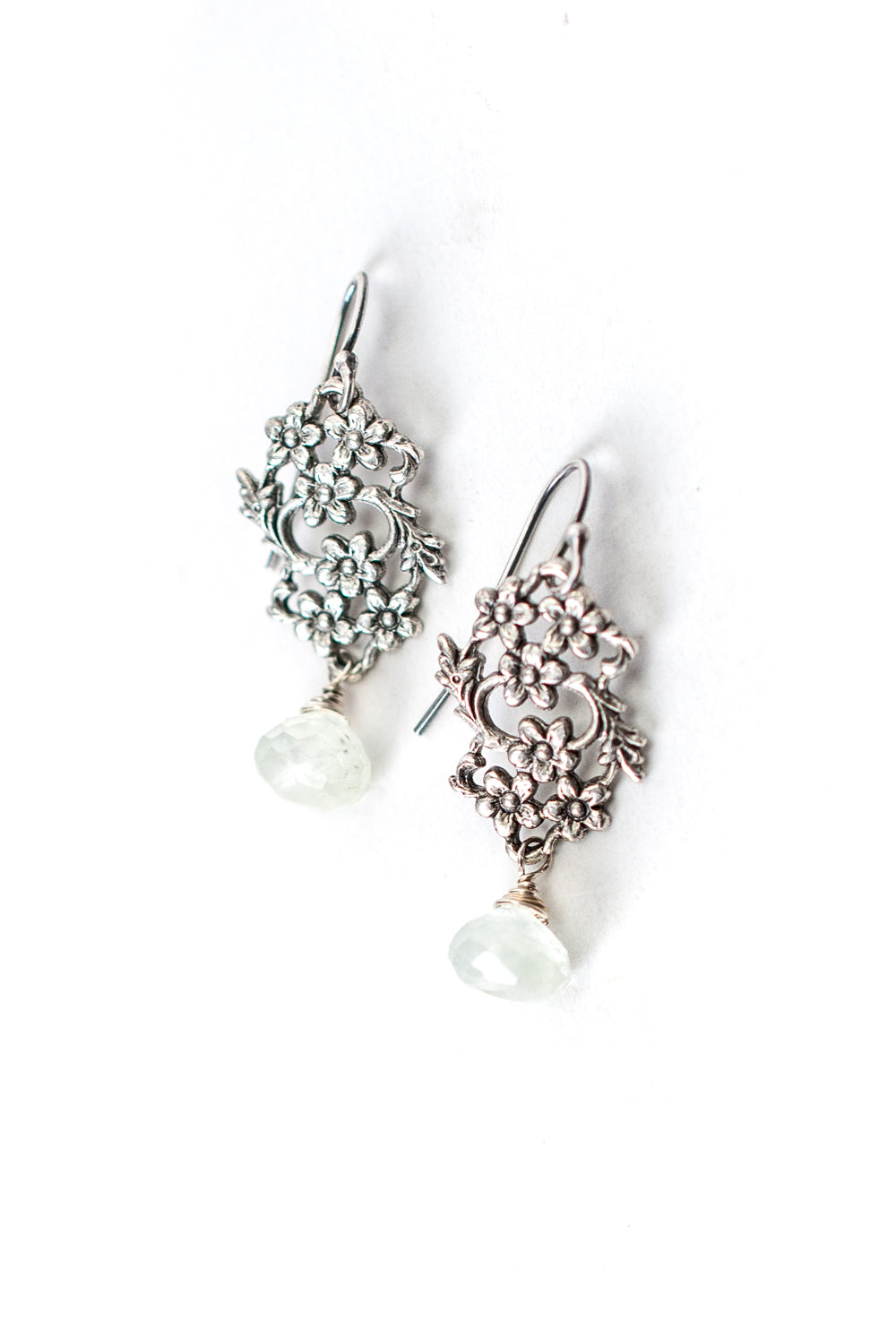 Refresh Prehnite, Antique Silver Flower Dangle Earrings