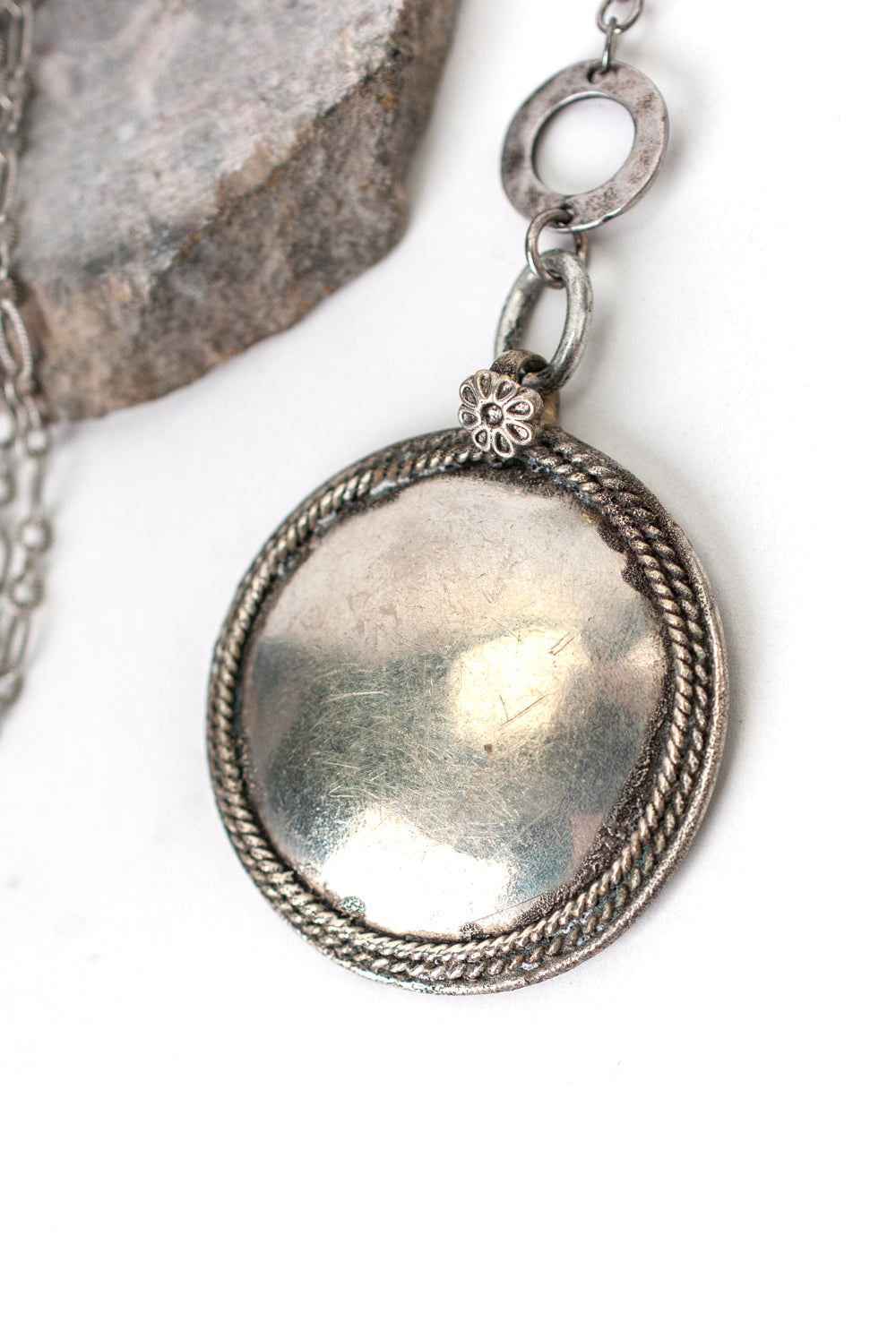 "Refresh 25-27"" Antique Silver Disk Focal Necklace"
