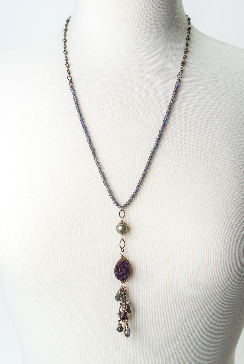 "Rich Vintage 25-27"" Crystal, Fresh Water Pearl, Druzy Herringbone Focal Necklace"