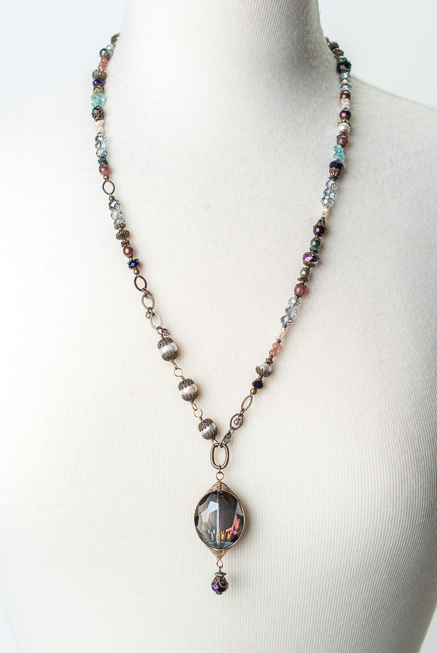 "Rich Vintage 27-29"" Crystal, Fresh Water Pearl, Czech Glass Collage Focal Necklace"