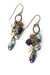 Rich Vintage Czech Glass, Crystal, Fresh Water Pearl Cluster Earrings