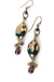 Rich Vintage Czech Glass, Crystal Herringbone Earrings