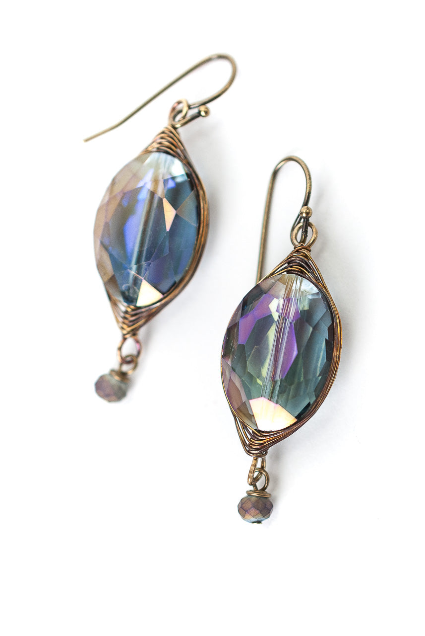 Rich Vintage Crystal Herringbone Earrings