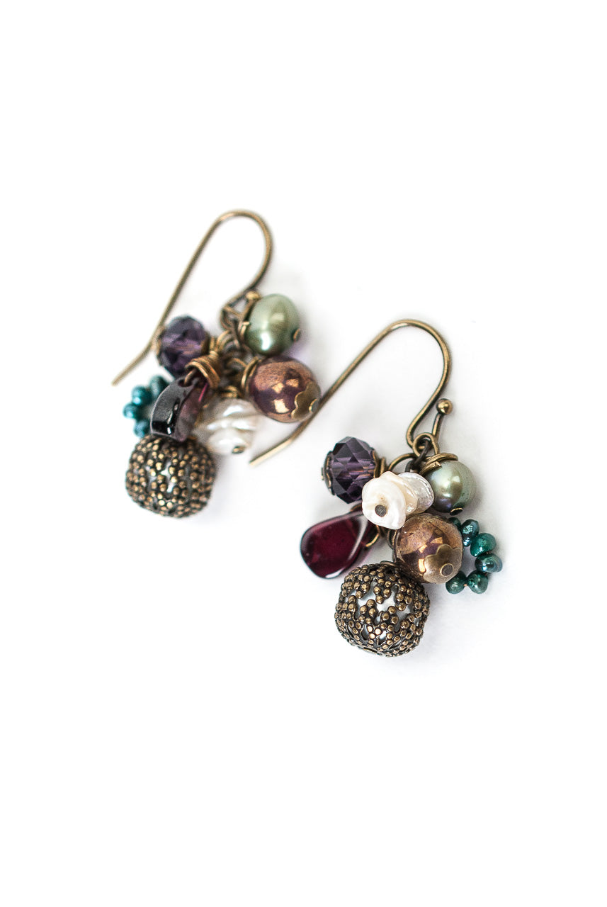 Rich Vintage Crystal, Fresh Water Pearl, Garnet Cluster Earrings