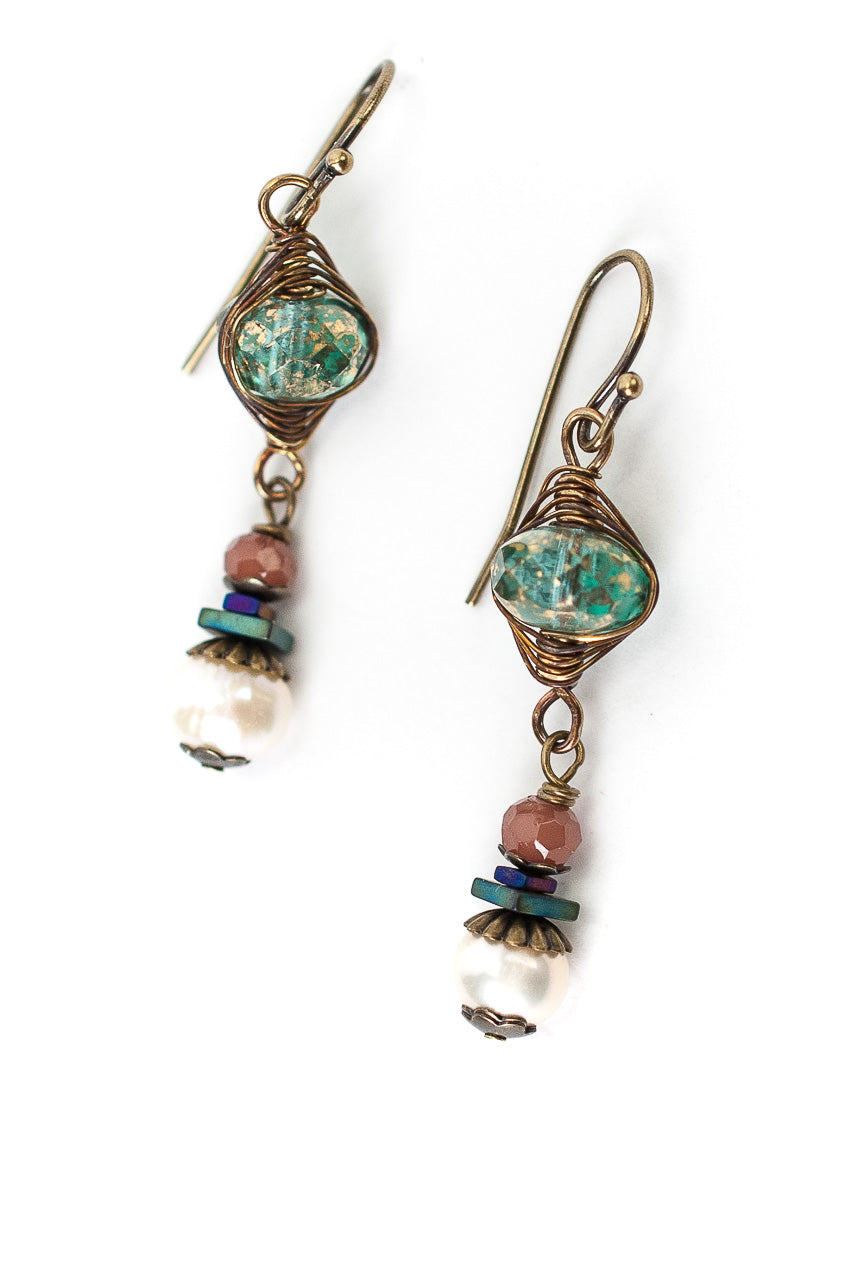Rich Vintage Crystal, Fresh Water Pearl, Czech Glass Dangle Earrings