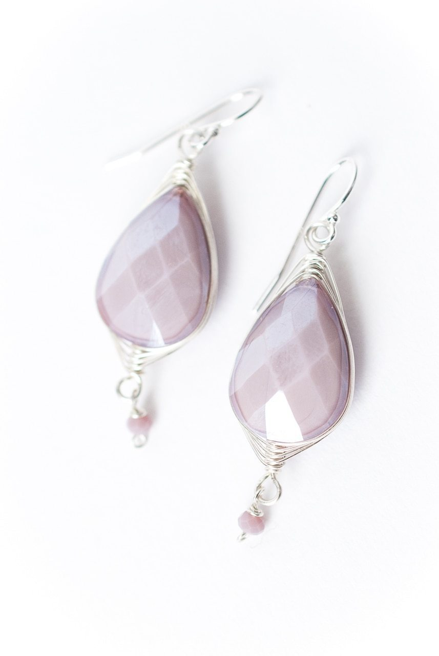 Herringbone Lavender Teardrop Earrings